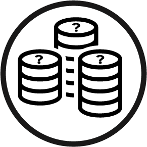 Three stacks of coins with question marks on the tops