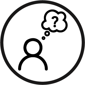A person with a thinking bubble