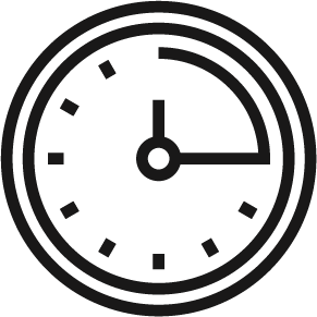 A clock showing quarter past in a circle