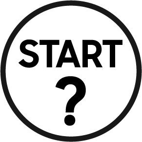 The word START and a question mark in a circle