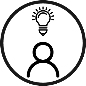 a circle with an icon of a learner and light bulb