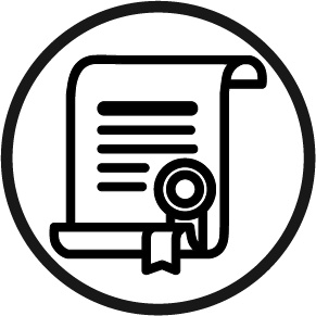 a circle with a certificate in it